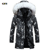 Idopy Men S Winter Jacket Camouflage Long Jacket Thickening Casual Hip Hop Street Hooded Fur Collar