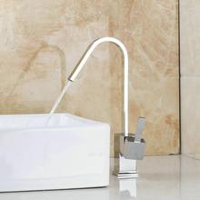 Уникальный Дизайн поток Поворотный Chrome латунь бортике бассейна 92552 Зингель ручкой раковина, смесители и краны