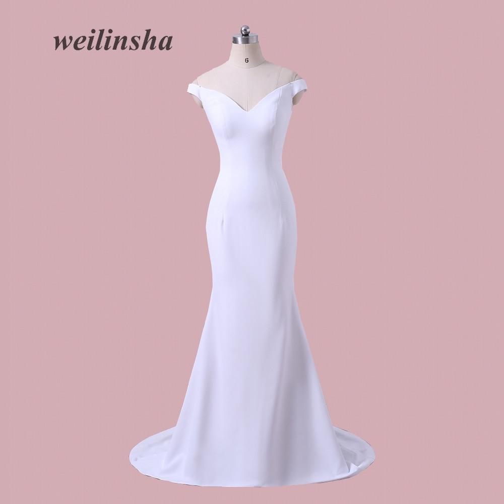 Weilinsha más tamaño satén barato Vestidos de noche sirena de tren ...
