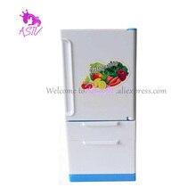 Розана Изысканный Реалистичный стиль Холодильник для Барби Кукольный Дом Мебель Сладкий Синий Холодильник с Морозильной Камерой Холодильник для Куклы Барби