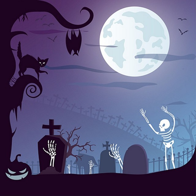 Moon Night Sky Scary Ghost Halloween Graveyard Zombie Background ...