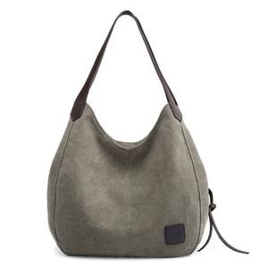 Image 2 - Canvas Bag Vintage Canvas Shoulder Bag Women Handbags Ladies Hand Bag Tote Casual Bolsos Mujer Hobos Bolsas Feminina 2020