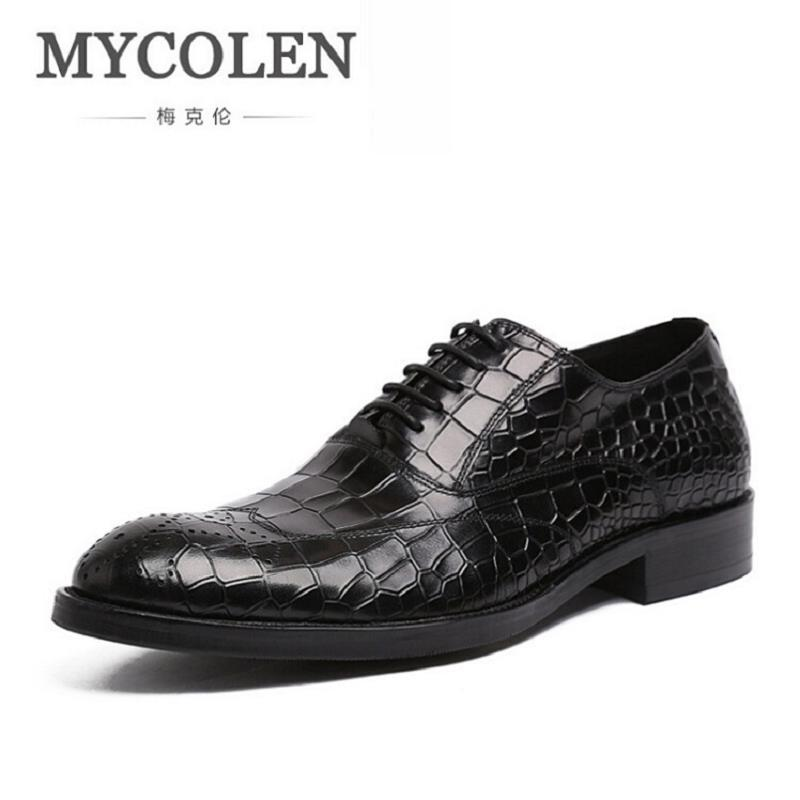 MYCOLEN Men Shoes Genuine Leather Lace-upDress Shoes Men Brand Luxury Business Casual Classic Gentleman Shoes Sapato Masculino cbjsho brand men shoes 2017 new genuine leather moccasins comfortable men loafers luxury men s flats men casual shoes
