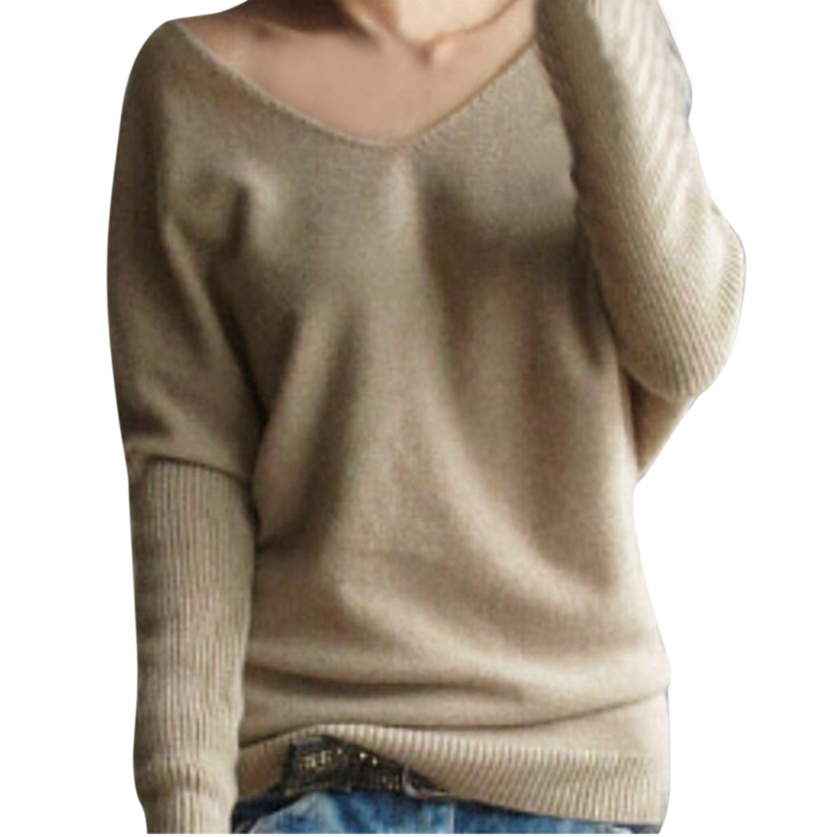 2017 Women Sweaters Spring Autumn V Neck Long Sleeve Solid Loose ...