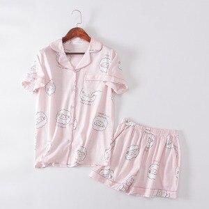Image 4 - Camisetas y pantalones cortos con estampado de ovejas Bluecute rosa, pijamas para mujer, camisón de manga corta con estampado de dibujos animados para verano del 2019