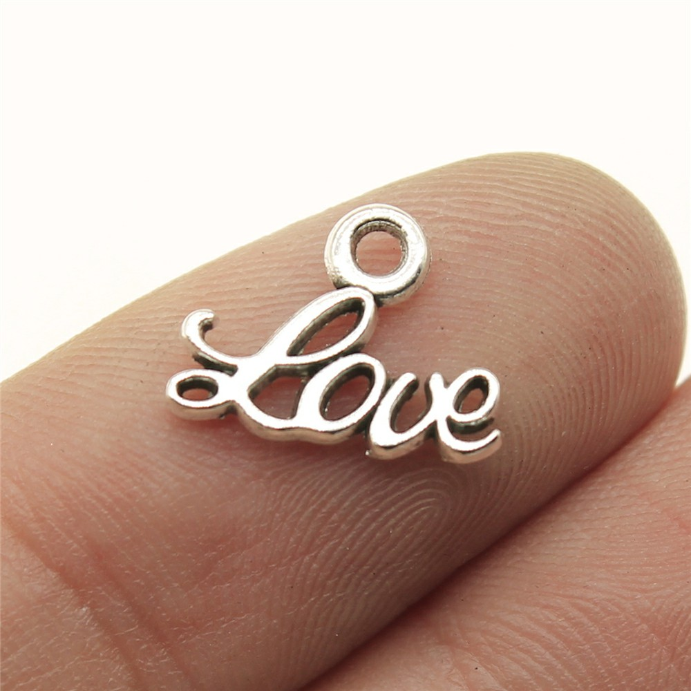 20pcs 13x10mm Antique Silver Plated Love Word Charm Small Word Love Charm Tiny Love Charm For Jewelry Making