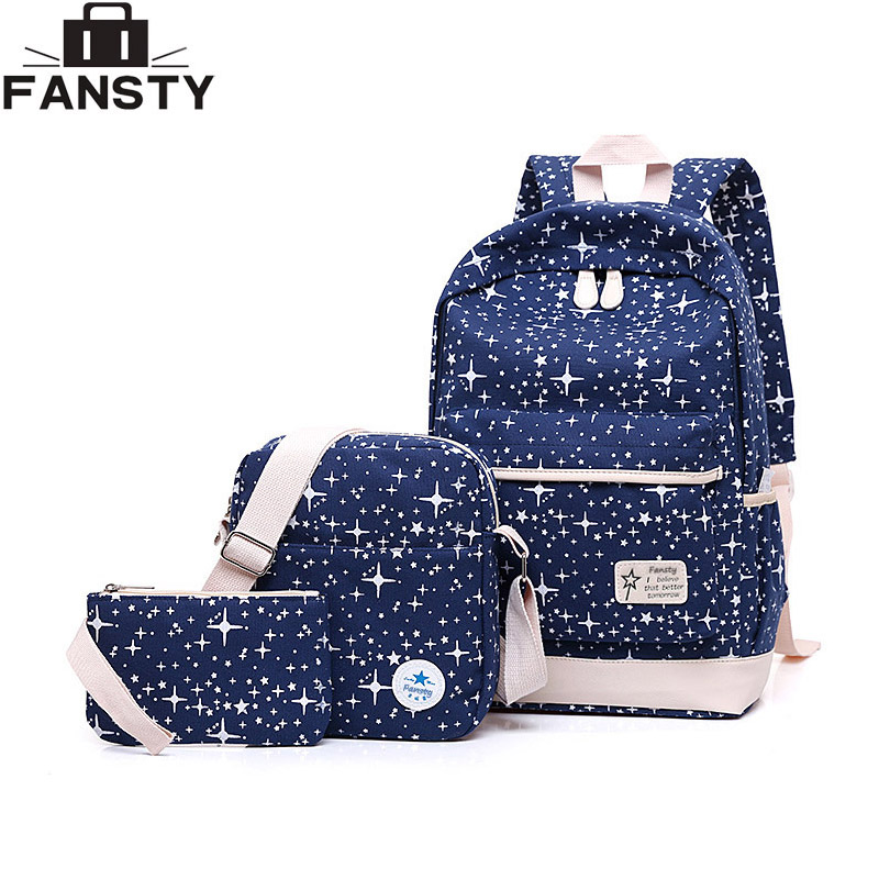 2017 New Canvas Young Women Backpack 3-piece Set Students School Bag Female Girl Travel Backpack Stars Cute Book Shoulder Bags2017 New Canvas Young Women Backpack 3-piece Set Students School Bag Female Girl Travel Backpack Stars Cute Book Shoulder Bags