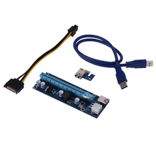 Wholesale 10pcs Super Speed USB 3.0 PCI-E Express 1x Extender Riser Card Adapter 6PIN Power Cable Riser Card Board