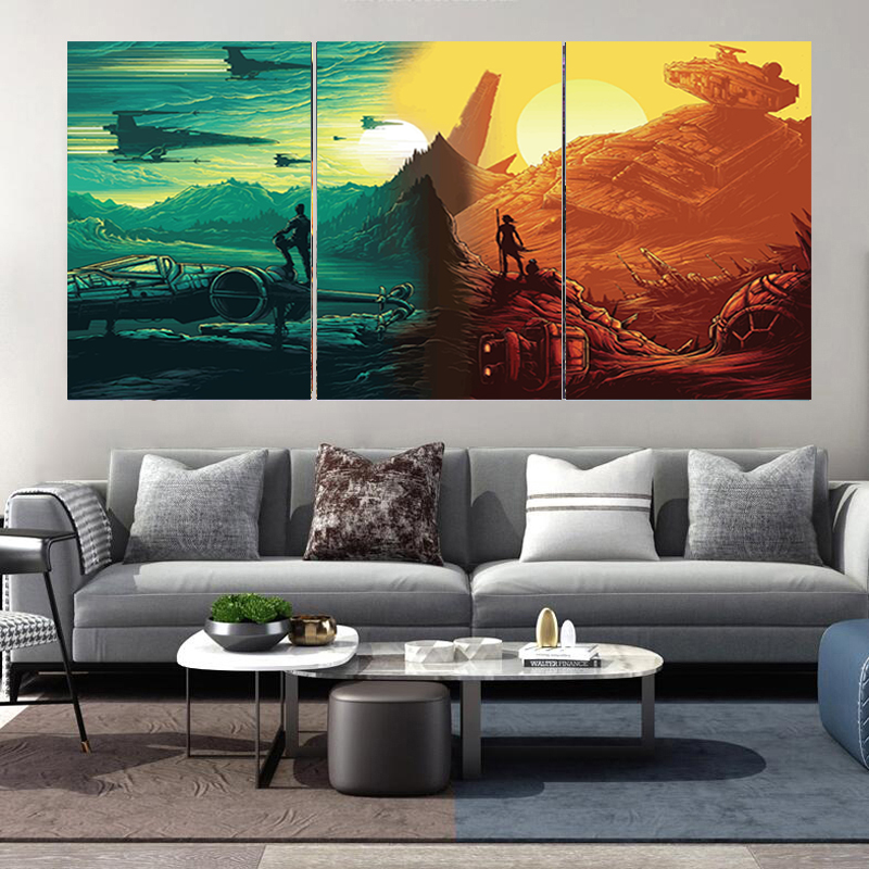 3 Pcs HD Prints Star Wars Poster Movie Picture Canvas Painting Wall Art Poster Print Wall Picture Living Room Art Decoration image
