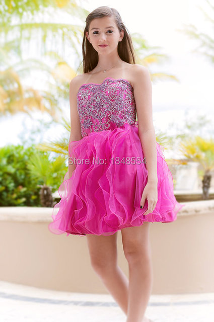 4e6c88e8 MZY729 red short mini young girl dress strapless beaded organza sleeveless  bridesmaid dress