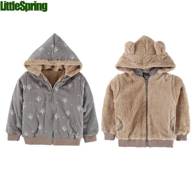 LitttleSpring Розничная БЕСПЛАТНАЯ Доставка Реверсивный ребенка куртки верхняя одежда Зима Детские капюшоном пальто обернуть пальто младенца