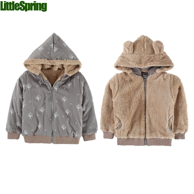 LitttleSpring Retail FREE Shipping Reversible baby jacket outerwear Winter Baby hoodie coats wrap baby coat