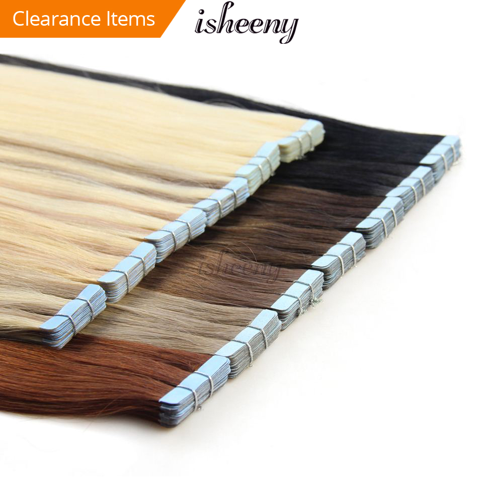 "isheeny 14"" 18"" 20"" 22"" 24"" Tape In Human Hair Extensions Straight Remy On Adhesive Invisible PU Weft Extension 14 Colors Choose"