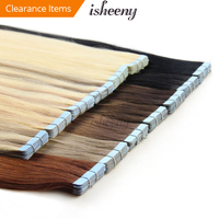 isheeny 14 18 20 22 24 Tape In Human Hair Extensions Straight Remy On Adhesive Invisible PU Weft Extension 14 Colors Choose