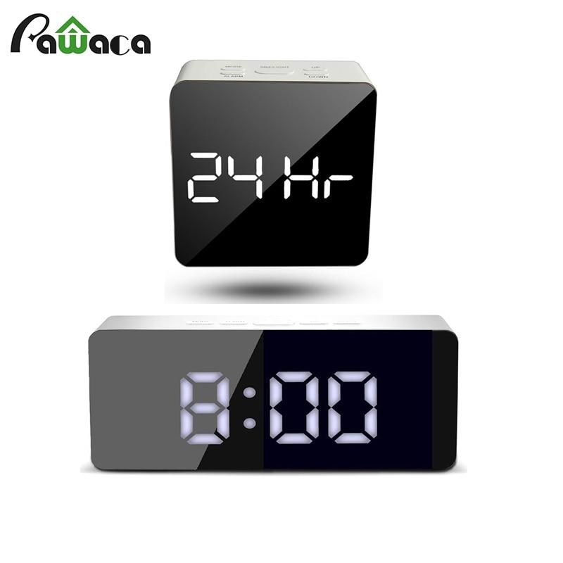 Mirror Alarm Clock LED Display Digital Clock Battery Operate USB Charging Snooze Temperature Alarm Clock For Bedroom Office