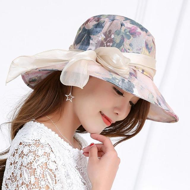b0a5e760 New Women Fashion Anti-UV Summer large brimmed Hats Collapsible Face  Protection Beach Hat Wide