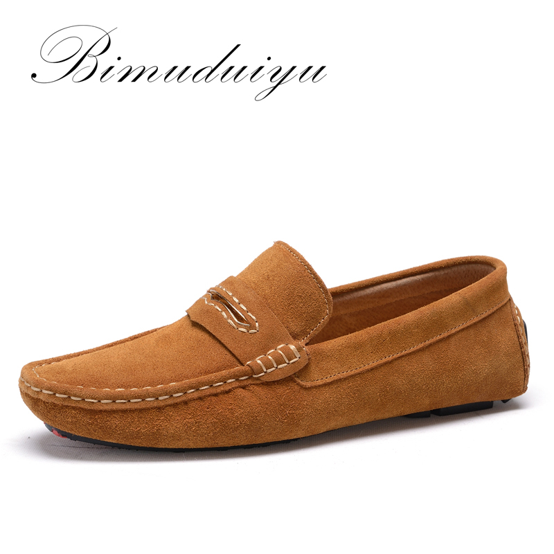 BIMUDUIYU Soft Comfort Daily  Driving Flat Shoes For Men Solid Color Fashion Breathable Suede Leather Loafer Quality Handmade mapleliz brand breathable slip on solid moccasins shoes for men full grain leather high quality driving soft flat men shoes