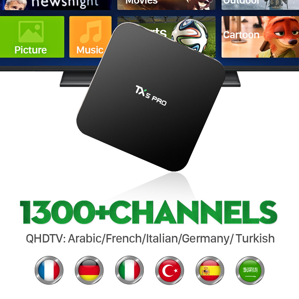 ФОТО Europe Arabic French IPTV S905X TX5PRO Box Channels included Android 6.0 TV Box Support Sport Canal Plus French Iptv Set Top Box
