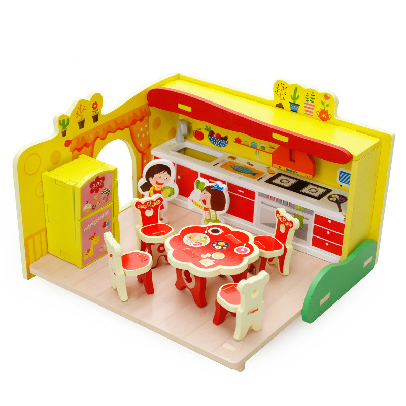 3D Pretend Play House Toy Set Assembling Dream Kitchen Kitchenware Tableware Suit Wooden Toys For Children Birthday Gift For Kid