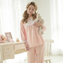 Free Shipping Spring New Cotton Women's Pajamas Home Clothes Sets Sweet Lace Princess Female Long-Sleeve Sleepwear 2 Piece Set