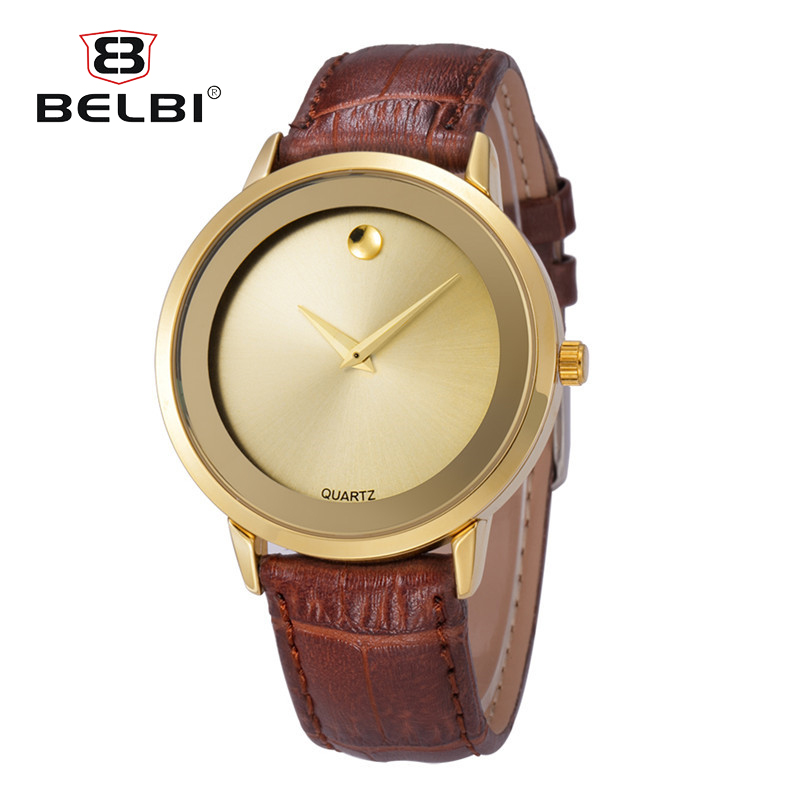 2017 New Brand BELBI Fashion High Quality Men Watch Leather Watchband Casual Quartz Watches Couple Wristwatch relogio masculino