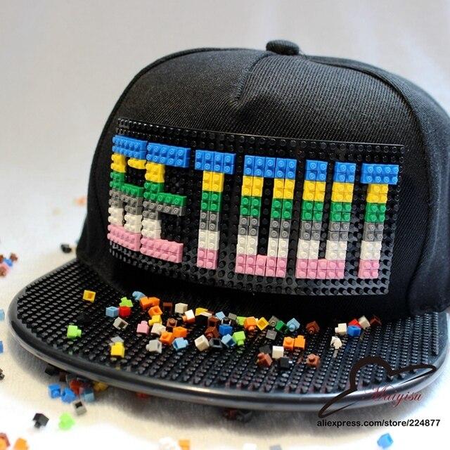 Novo design Bigbang G-Dragão SAIR Mosaicos Inlay Tijolo blocos de Construção de brinquedos DIY Destacável boné de beisebol GD Snapback chapéu hiphop