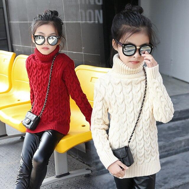 Winter New Fashion Brand Girls Sweater Kids Girls High-quality Knitted Cotton Turtleneck Pullover Warm Sweater Kids Thicken Tops