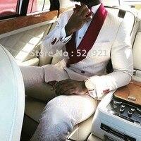 Side Vent Groomsmen White Pattern Groom Tuxedos Shawl Wine Lapel Men Suits Wedding/Prom Best Man Blazer( Jacket+Pants+Tie )C269