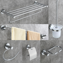 цена DONGKE Chrome Bathroom Pendant Copper Towel Rack Rack Simple European Towel Rack Bathroom Hardware Pendant Set онлайн в 2017 году