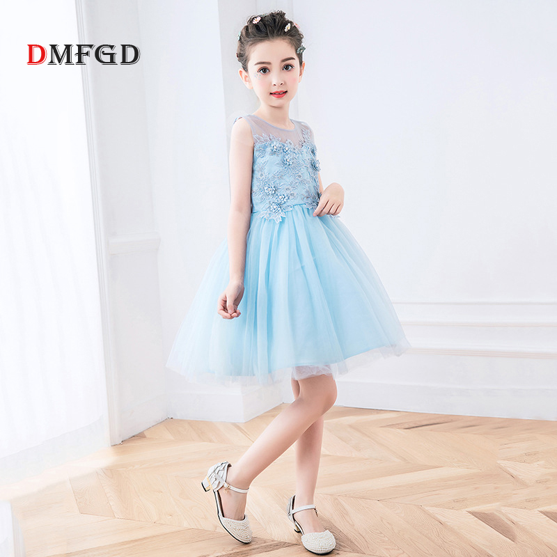 New Children's summer dress for girls ball gown lace floral birthday party costume kids dresses cute girls Teenager dresses 4pcs new for ball uff bes m18mg noc80b s04g