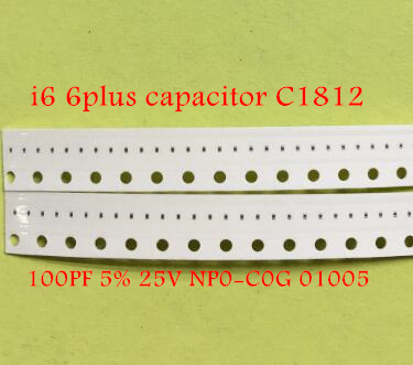 100pcs/lot for iphone 6 6plus <font><b>capacitor</b></font> C1812 100PF 5% 25V NP0-C0G <font><b>01005</b></font> image