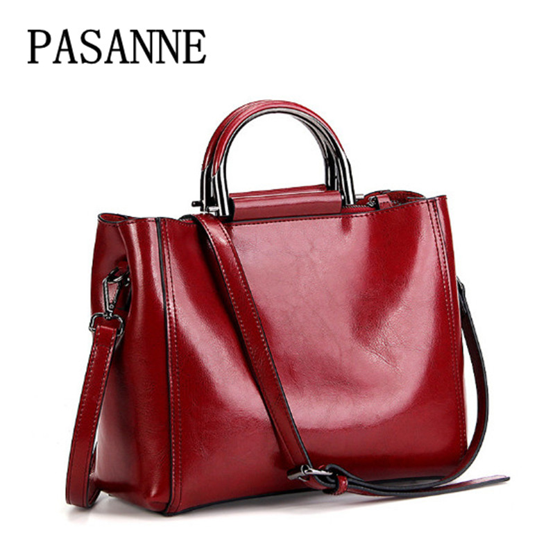 Women Bag Fashion Shoulder Bags Soft Skin 2018 New PASANNE Trendy Female Tote Handbag Genuine Leather Girl Woman Bags Handbags 2017 new female genuine leather handbags first layer of cowhide fashion simple women shoulder messenger bags bucket bags