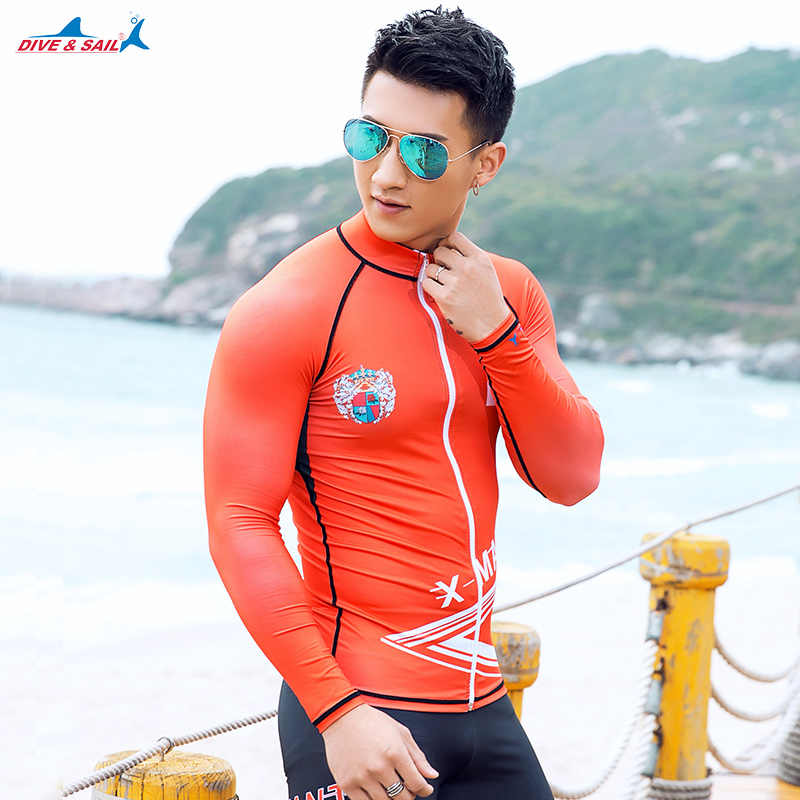 0c0df9b33d Dive   Sail Men s Rash Guard with Zipper Long Sleeve UV Protection Men s Diving  Shirt Wetsuit