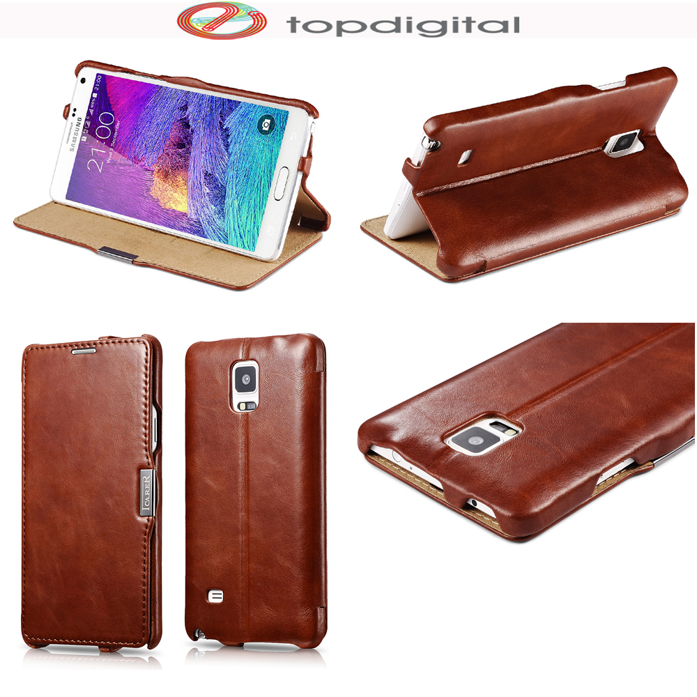 reputable site e2800 d2413 US $18.4  icarer Genuine Leather Flip Case for Samsung Galaxy Note 4 Note4  Retro Wallet Case Cover Magnetic Credit Card Holder Slot Stand-in Flip ...