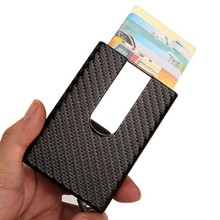 2020 New Carbon Fiber PU Leather ID Metal Credit Card Holder Automatic Slide Card Case Business Aluminum RFID Wallet Cardholder(China)