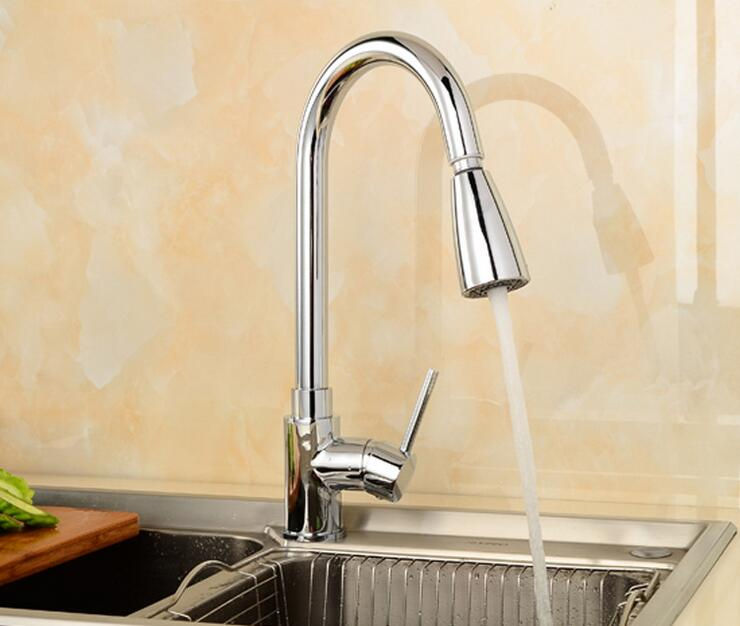 Rotated wash basin faucet kitchen pull down, Copper dish basin faucet hot and cold, Brass single hole kitchen sink basin faucet kitchen faucet basin hot