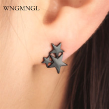WNGMNGL New Simple Gold Sliver Black Color Star Geometric Earrings For Women Charm Fashion Jewelry 2018 Femmes Stud