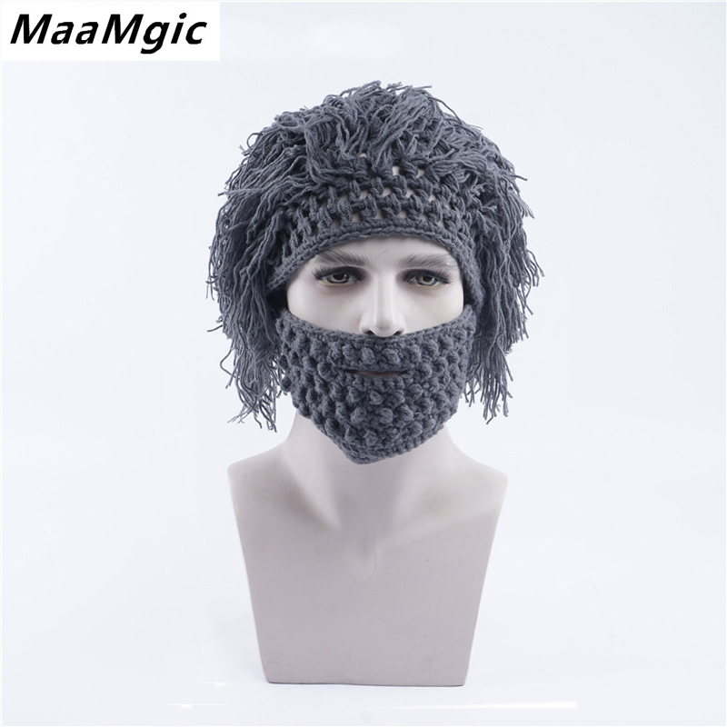 2017 Beard Hatst Unisex New Fashion Warm Winter autumn Caps Men Women Halloween Gifts Hat Novel girl boy mask beanie hats novelty women men winter warm black full face cover three holes mask beanie hat cap fashion accessory unisex free shipping