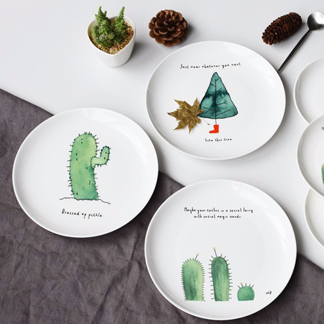 1Pcs Bone China Cake Dishes Plate Dinner Plates Cartoon Cactus Printed Porcelain Pastry Fruit Tray Ceramic & 1Pcs Bone China Cake Dishes Plate Dinner Plates Cartoon Cactus ...