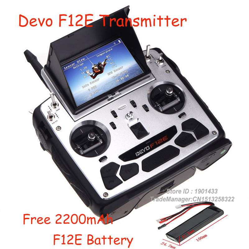 Walkera DEVO F12E Transimitter FPV 12CH 5.8G 32CH Telemetry with LCD Screen For H500 X350 pro X800 RCTransimitter + Free Battery dr strings nmcb 40 nmcb 45 nmcb5 45 dr k3 neon bass guitar strings light multi color