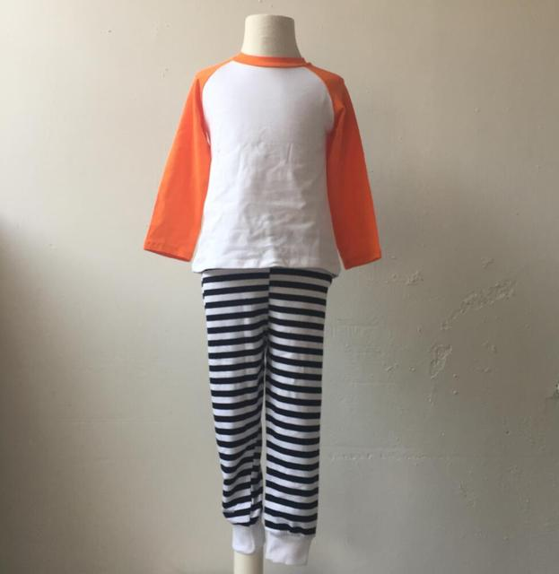 6726d4b21723 Matching Family Halloween Pajamas women and girls baby boy clothes Cotton  orange raglan shirt Stripe pant Baby Sleeping Clothes