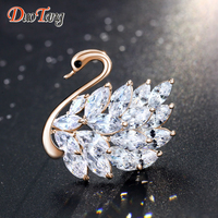 DuoTang Classic Women Animal Swan Brooch Gold And Silver Plated Metal Cubic Zirconia Brooch Pins For