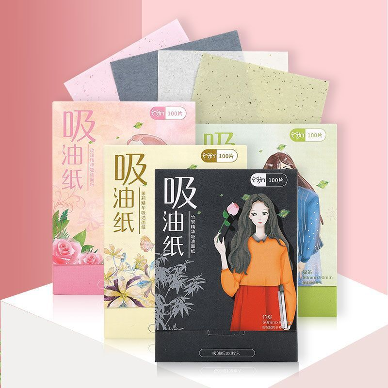 100pcs Portable Absorbent Paper Oil Control Wipes Green Tea Absorption Tablets Matcha Oily Facial Blotting Matte Paper Towel