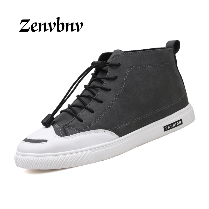 ZENVBNV Men Shoes Casual Leather 2017 Autumn Fashion Trendy Black white Flat Shoes Comfortable for Men Free Shipping Size 39-44 casual waterproof boot silicone shoes cover w reflective tape for men black eur size 44 pair