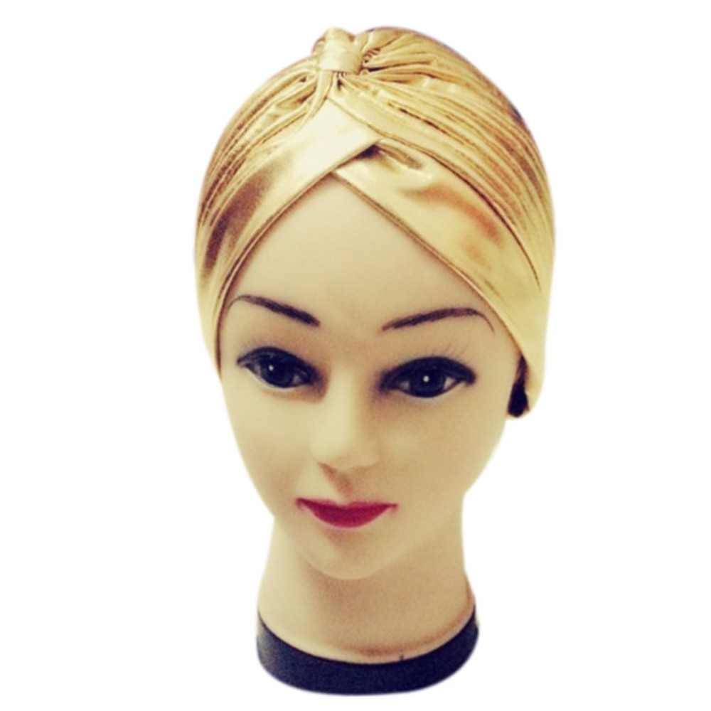 7da6c623546 Dropwow Pleated Stretchable Polyester Bathing Turban Hat Head Cover Sun Cap  high quality 50cm Polyester radiant look women s cap