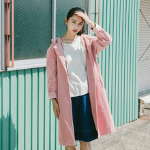 Women Cute Pink Corduroy Cotton Hooded Trench Coat Outwear Loose Mori Girl Autumn Sping Overcoat Retro Single Breasted Coats