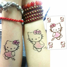 M-theory Small Pink Cat Flash Tatoos Hand Sticker 10.5x6cm Fake Temporary Tattoos Body Art Sticker Swimsuit Bikini Makeup