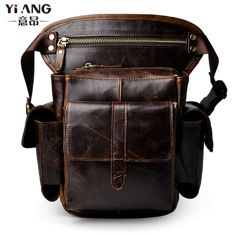 Men's Cowhide Oil Wax Genuine Leather Drop Leg Bag Messenger Shoulder Hip Bum Belt Fanny Pack Waist Thigh Travel Motorcycle цена
