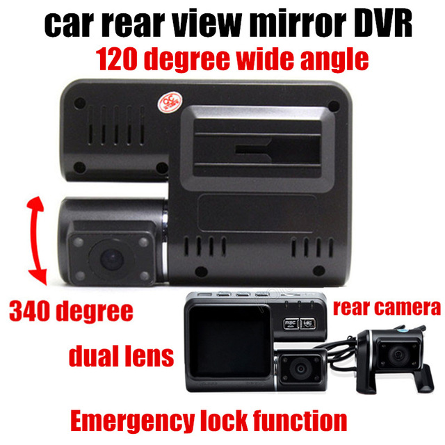 2 inch monitor 120 degree wide angle Car DVR Dual Lens Camcorder with Rear View Camera Vehicle DVR Car video recorder