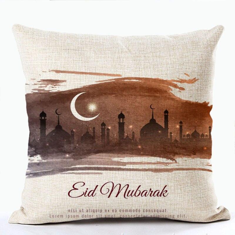 Islamski Eid Mubarak prevleka za blazino bombaž Ramadan Dekoracija - Domači tekstil